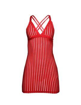 Red Stripe Mesh Slip Dress by Prettylittlething