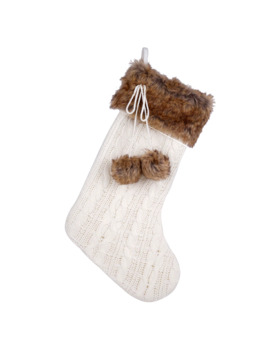 Ivory Cable Knit Stocking With Fur By Ashland® by Ashland
