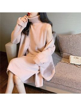 Be Bonita   Plain Long Sleeve Cardigan / Turtleneck Sleeveless Knit Dress by Be Bonita