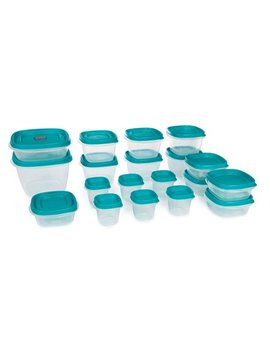 Rubbermaid Easy Find Vented Lids Food Storage Containers, Set Of 19 (38 Pieces Total) Plastic Containers|Reusable & Stackable Meal Prep Containers, Teal by Rubbermaid