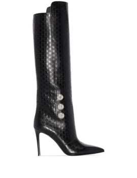 Opaline 95mm Monogram Knee High Boots by Balmain