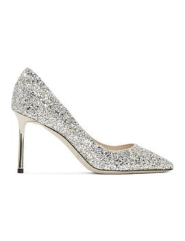 Silver Glitter Romy 85 Heels by Jimmy Choo