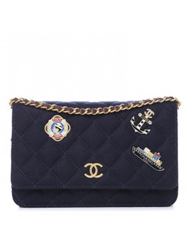 Chanel Felt Quilted Paris Hamburg Charms Wallet On Chain Woc Dark Navy by Chanel