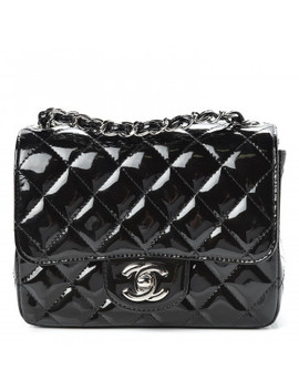 Chanel Patent Calfskin Sparkle Quilted Mini Square Flap Black by Chanel
