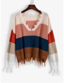 Zaful Colorblock Ripped V Neck Sweater   Multi A M by Zaful