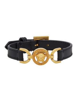 Black & Gold Calfskin Medusa Bracelet by Versace