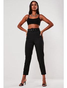 Petite Black Co Ord Seam Detail Cigarette Trousers by Missguided