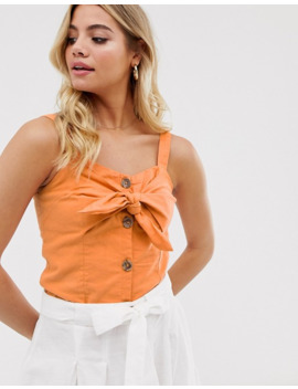 Pimkie Tie Front Cami In Orange by Pimkie