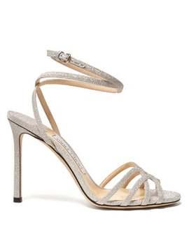 Mimi 100 Cross Strap Glitter Sandals by Jimmy Choo