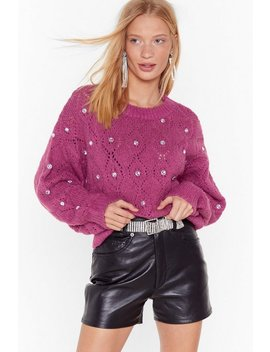 Will You Be Shine Diamante Pointelle Jumper by Nasty Gal