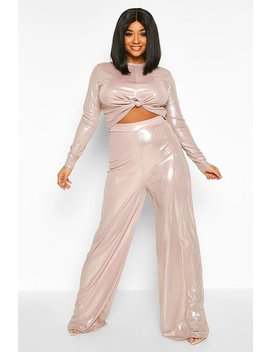Plus Metallic Knot Front Top + Wide Leg Trousers by Boohoo