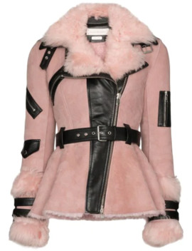 Contrast Belted Biker Jacket by Alexander Mc Queen