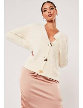 Sand Boxy Button Fluffy Cardigan by Missguided