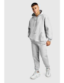 Official Man Back Print Loose Fit Hooded Tracksuit by Boohoo