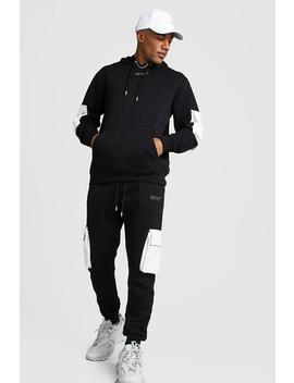Original Man Contrast Utility Hooded Tracksuit by Boohoo