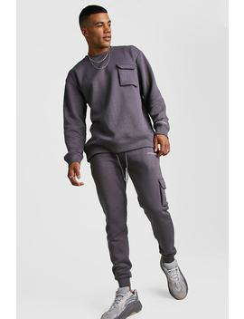 Official Man Loose Fit Utility Sweater Tracksuit by Boohoo
