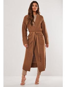 Tan Ribbed Shawl Collar Belted Cardigan by Missguided