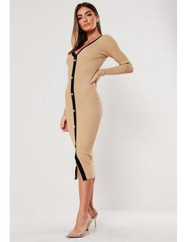 Camel Button Through Knitted Cardigan Dress by Missguided