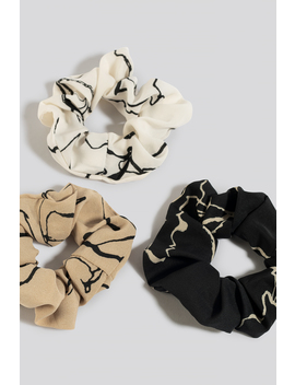 3 Pack Floral Ink Print Scrunchies White by Na Kd Accessories
