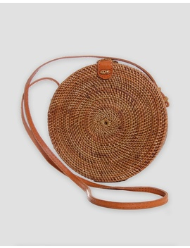 Luna Round Woven Rattan Bag by Arms Of Eve