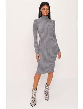 Grey Zip Front Knitted Jumper Dress by I Saw It First
