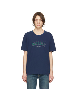 Navy 'malibu' T Shirt by Saint Laurent