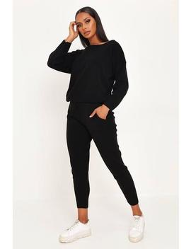 Black Plain Knitted Lounge Set by I Saw It First