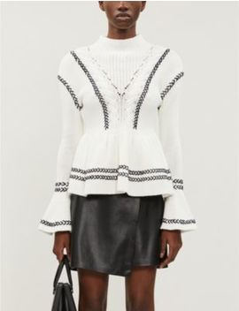 Frilled Cotton Knit Jumper by Self Portrait