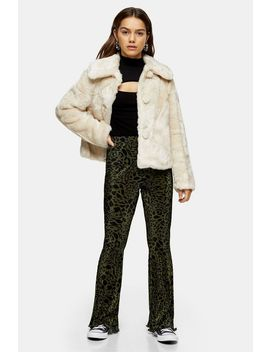 Petite Green Leopard Plisse Trousers by Topshop