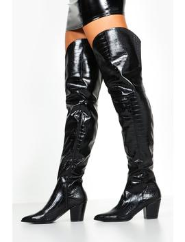 Croc Thigh High Western Boots by Boohoo