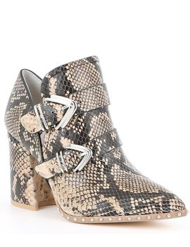 Decie Leather Snake Print Studded Block Heel Western Booties by Gianni Bini