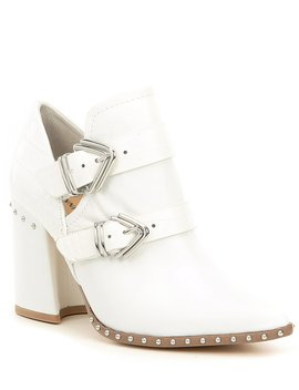 Decie Embossed Leather Studded Block Heel Western Booties by Gianni Bini