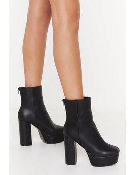 Raise The Roof Faux Leather Platform Boots by Nasty Gal