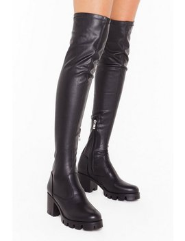 Time To Walk Away Faux Leather Over The Knee Boots by Nasty Gal