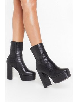 Big Heels Platform Faux Leather Boots by Nasty Gal