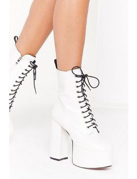 Lace You There Faux Leather Platform Boots by Nasty Gal