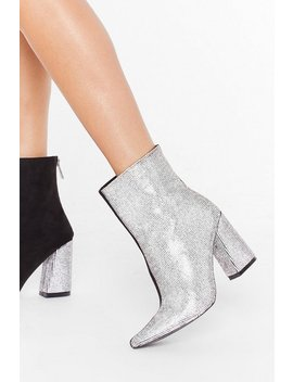 Can't Decide Diamante Heeled Boots by Nasty Gal