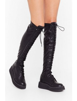 Pu Knee High Lace Up Flatform Boots by Nasty Gal