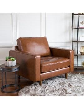 Abbyson Holloway Mid Century Top Grain Leather Armchair by Abbyson