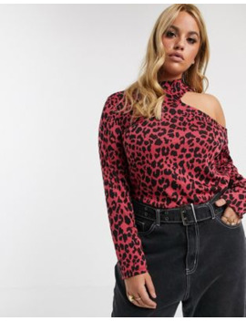 Asos Design Curve Top In Bright Leopard With Cutout Detail by Asos Design