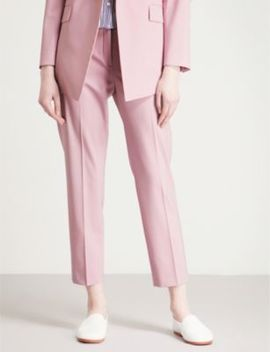 Treeca Cropped Stretch Wool Tapered Trousers by Theory