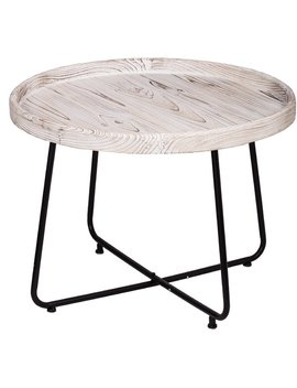 Charlize Organic Elements Rustic Cocktail Table   Matte Black, Wash White by Gracie Oaks