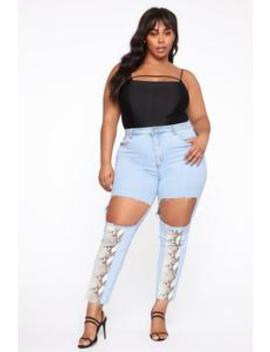 Snake Bite Skinny Jeans   Light Blue by Fashion Nova