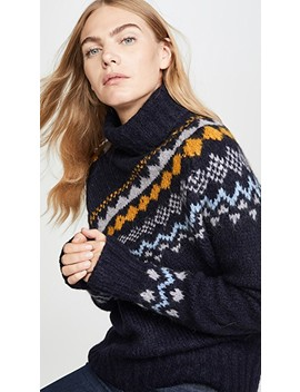 Diagonal Fair Isle Turtleneck Sweater by Derek Lam 10 Crosby