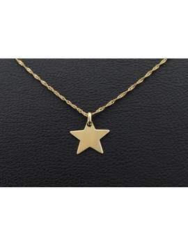 Star Pendant Real 333 Gold Chain Necklace 38 45 Cm Singapore 8k Gold Chain Necklace Crochet Gold Jewelry by Etsy
