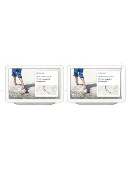 Google Nest Hub With Google Assistant   Set Of 2   Chalk by Best Buy