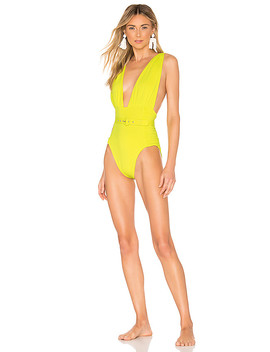Plunge Ruched One Piece In Fluorescent Lime by Nicholas
