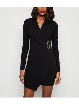 Black Buckle Mini Wrap Dress by New Look
