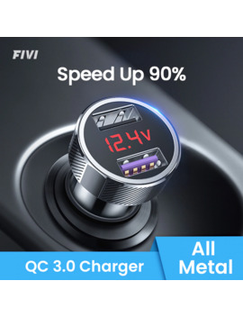 Fivi Car Charger For Mobile Phone Fast Charger Qc 3.0 Digital Led Voltage Display Usb Charger For Samsung Xiaomi Iphone Huawei by Ali Express.Com