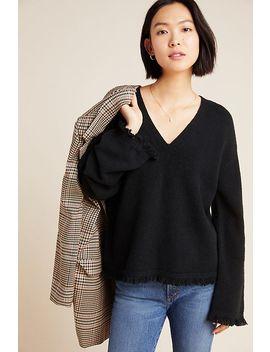 Joy Fringed V Neck Sweater by Anthropologie